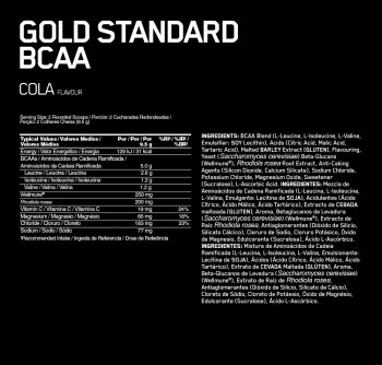 Gold Standard BCAA train&sustain 266g cola – Optimum Nutrition