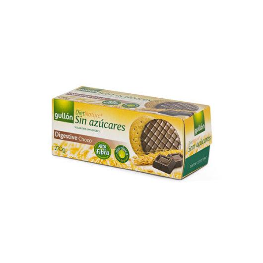 Keksi digestive s čokoladom bez dodanih šećera Gullon u žutom pakiranju od 270 grama