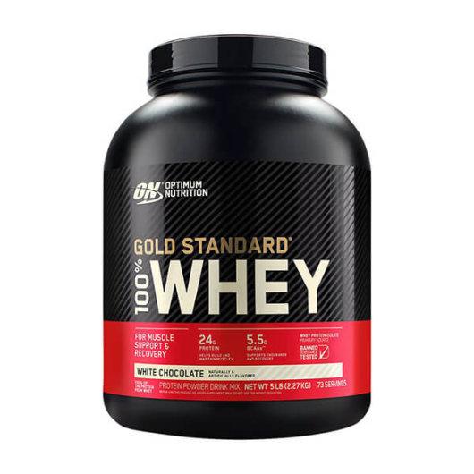 Proteini Whey Gold OPtimum Nutrition u crveno crnoj posudici od 2270 grama