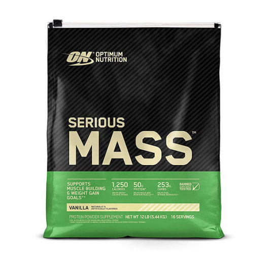 Serious mass gainer u crno zelenoj vreći proizvođača Optimum Nutrition