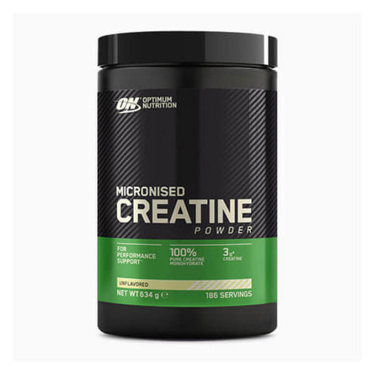 Kreatin monohidrat Optimum Nutrition u crnoj posudici od 634 grama