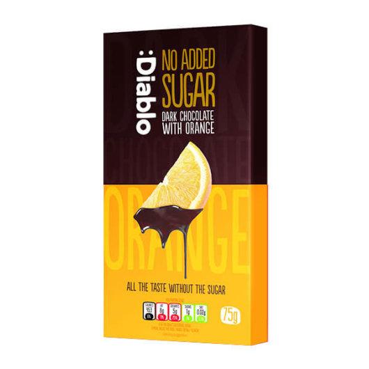 Tamna čokolada s narančom bez dodanog šećera 75g - Diablo