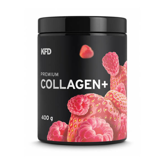 Kolagen u prahu KFD Nutrition okusa jagoda i malina u bijeloj posudici od 400 grama
