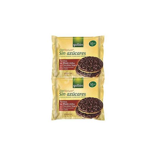 Kukuruzni krekeri preliveni tamnom čokoladom Gullon u žutom pakiranju od 100 grama