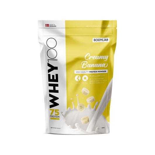 Proteini Whey 100 Bodylab u žutoj ambalaži okusa banane od 1000 grama