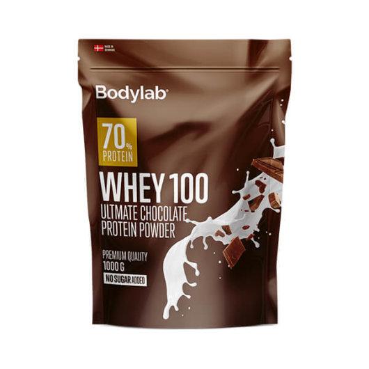 Proteini Whey 100 Bodylab u tamno smeđoj ambalaži okusa čokolade od 1000 grama