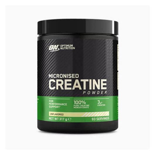 Kreatin monohidrat Optimum Nutrition u crnoj posudici od 317 grama