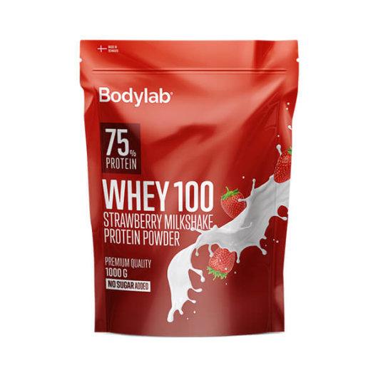 Proteini Whey 100 Bodylab u crvenoj ambalaži okusa jagode od 1000 grama