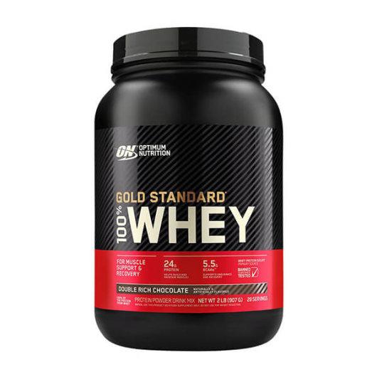 Proteini Whey Gold OPtimum Nutrition u crveno crnoj posudi od 908 grama