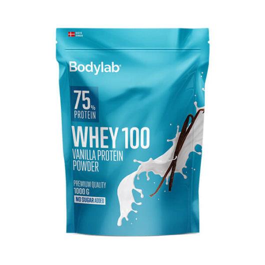 Proteini Whey 100 Bodylab u plavoj ambalaži okusa vanilije od 1000 grama