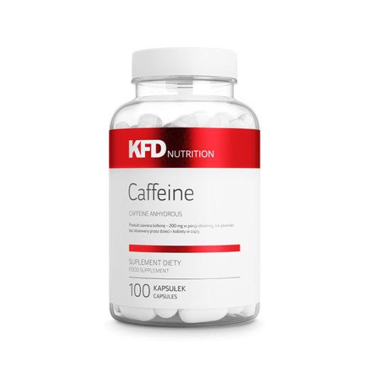 Kofein u tabletama KFD Nutrition u prozirnoj posudici od 100 tableta