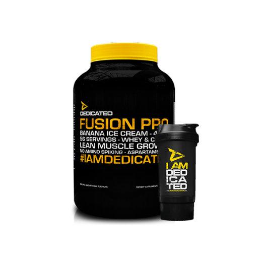Proteini Fusion Pro Dedicated Nutrition u crno žutoj kantici od 1815 grama