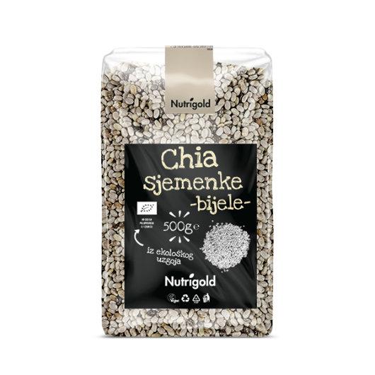 Organske bijele Chia sjemenke Nutrigold u prozirnoj ambalaži od 500 grama