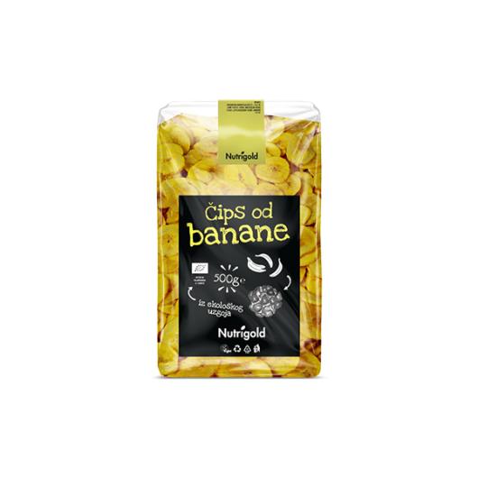 Organski čips od banane u proziirnoj ambalaži od 500 grama