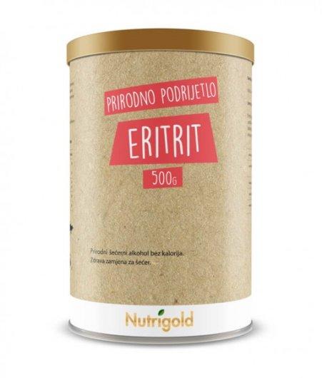 Prirodni zaslađivač eritrit Nutrigold u prozirnoj ambalaži od 500 grama