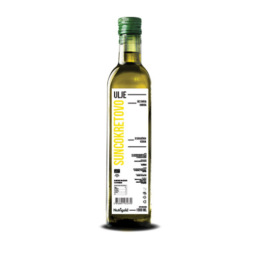 Organsko hladno prešano suncokretovo ulje Nutrigold u staklenoj boci od 750ml