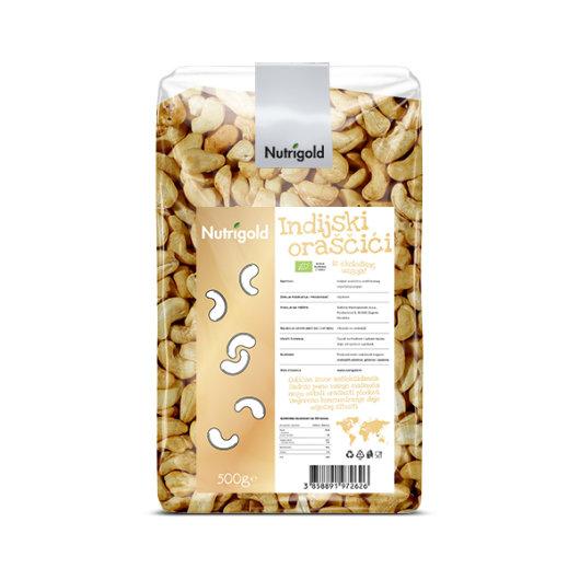 Organski indijski oraščić  Nutrigold u prozirnoj vrečici od 500g