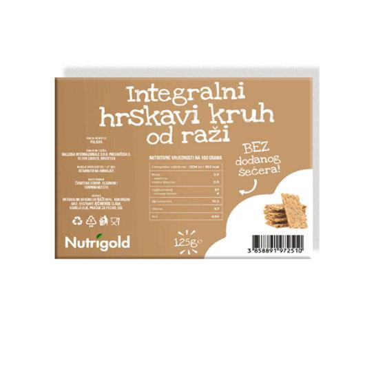 Integralni hrskavi kruh od raži Nutrigold bez šećera u ambalaži od 125 grama