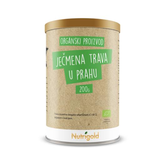 Organska ječmena trava nutrigold u prahu u posudi od 200 grama