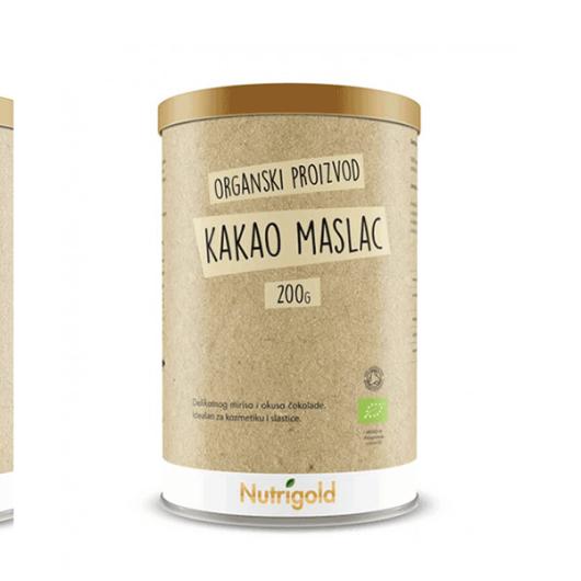 Organski kakao maslac nutrigold u smeđoj posudici od 200 grama