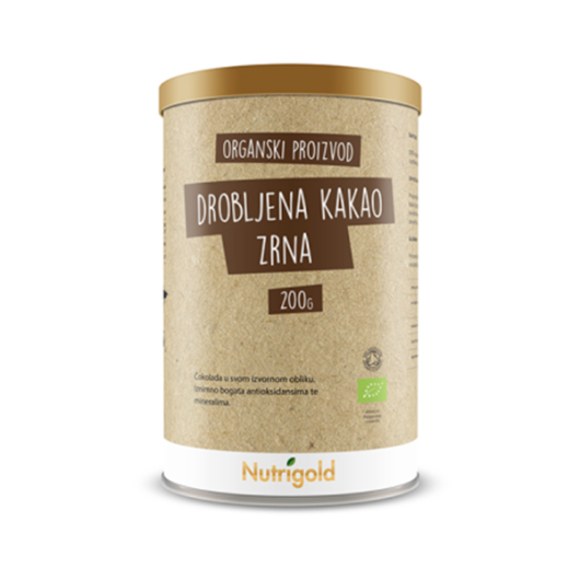 Organska kakao zrna drobljena nutrigold u smeđoj posudici od 250 grama