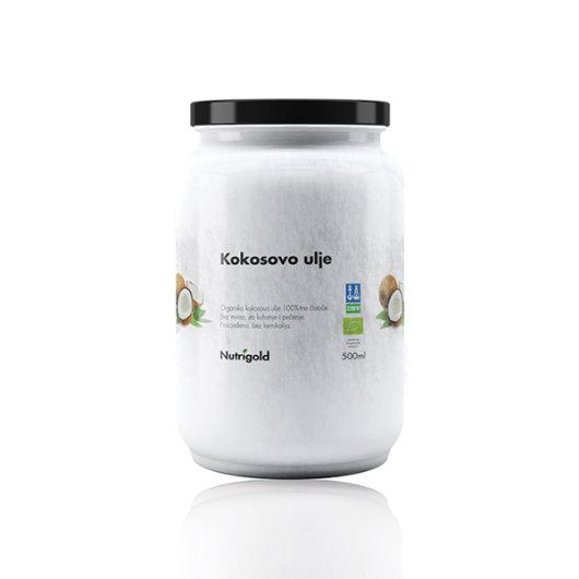 Organsko kokosovo ulje bez mirisa Nutrigold u staklenoj ambalaži od 500ml