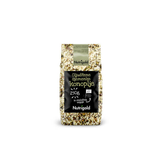 Organske sjemenke konoplje Nutrigold u smeđoj posudici od 250 grama