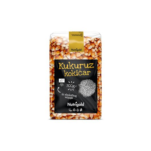 Organski kukuruz kokičar Nutrigold u prozirnoj vrečici od 500 grama