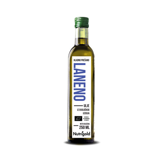Organsko hladno prešano laneno ulje Nutrigold u staklenoj boci od 250ml