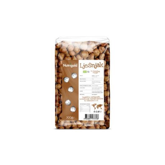 Organski lješnjak nutrigold u prozirnoj ambalaži od 500 grama