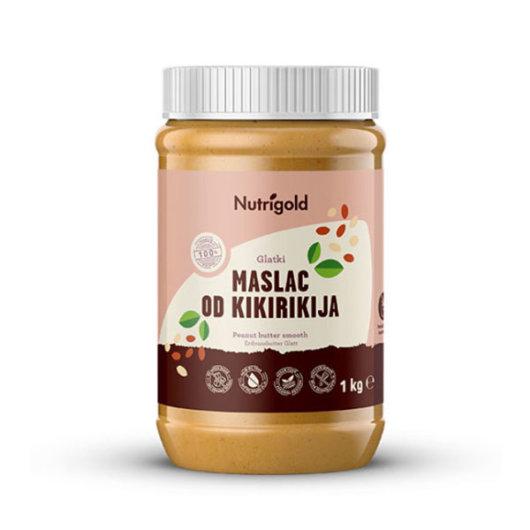 Glatki maslac od  kikirikija Nutrigold u prozirnoj posudici od 1000 grama