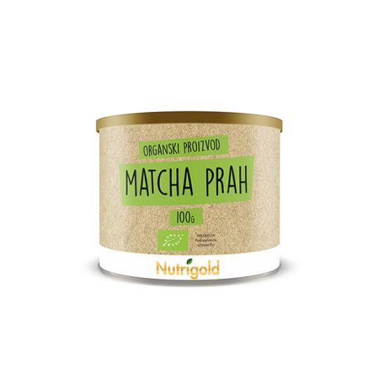 Organski matcha prah Nutrigold  u posudici od 100 grama