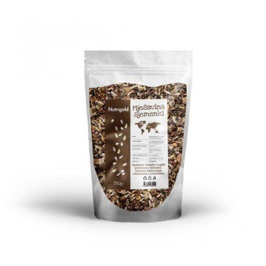 Mješavina sjemenki Nutrigold u prozirnoj ambalaži od 750 grama