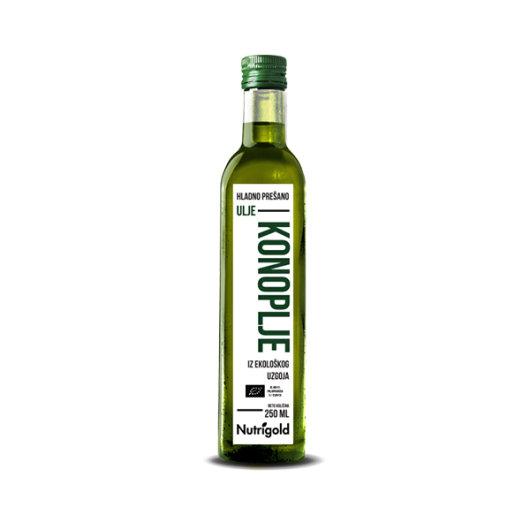 Organsko hladno prešano ulje konoplje Nutrigold u staklenoj boci od 250ml