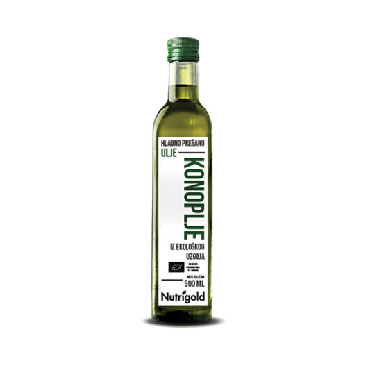 Organsko hladno prešano ulje konoplje Nutrigold u staklenoj boci od 500ml