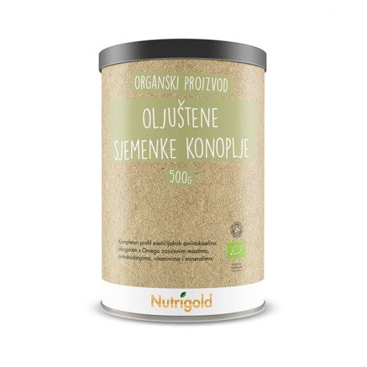 Organske sjemenke konoplje Nutrigold u smeđoj posudici od 500 grama