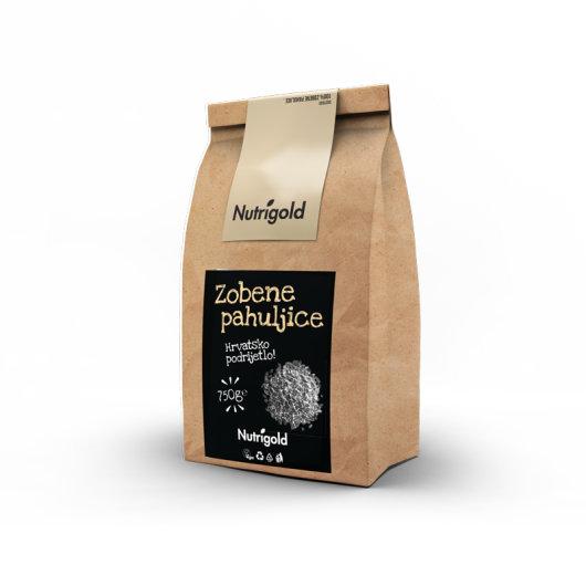 Zobene pahuljice Nutrigold u smeđoj ambalaži od 750 grama