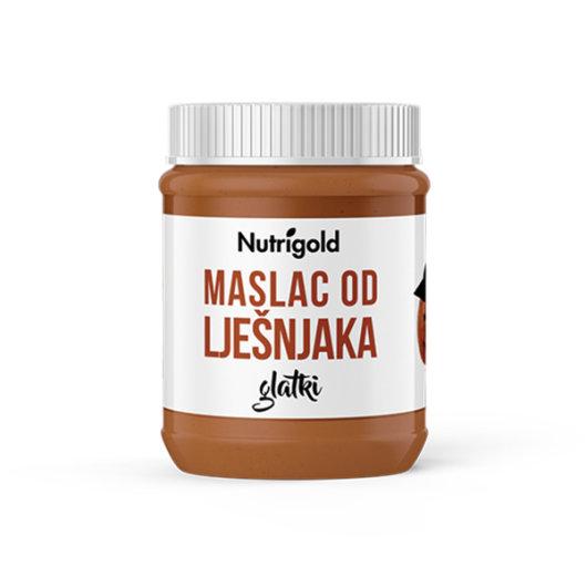 Prirodni maslac od lješnjaka Nutrigold u posudici od 500 grama