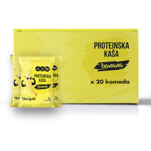 Proteinska kaša Nutrigold od banane u pakiranju od 20 komada