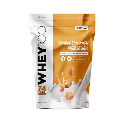 Proteini Whey 100 Bodylab u krem ambalaži okusa slane karamele od 1000 grama