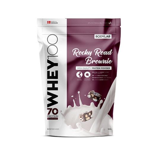 Proteini Whey 100 Bodylab u ljubičastoj ambalaži okusa Rocky Road od 1000 grama