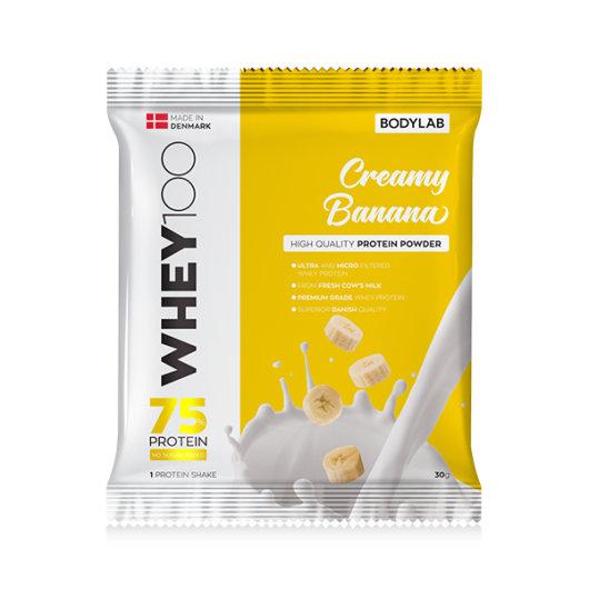 Proteini Whey 100 Bodylab u žutoj ambalaži okusa banane od 30 grama