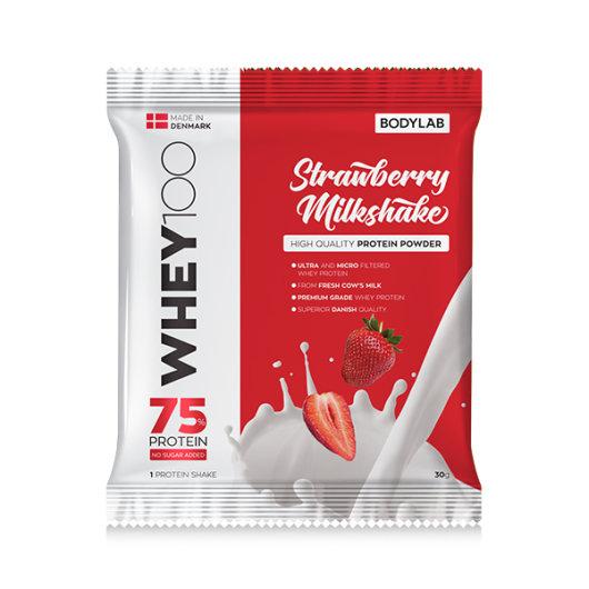 Proteini Whey 100 Bodylab u crvenoj ambalaži okusa jagode od 30 grama