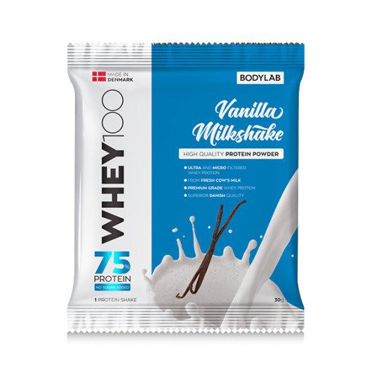 Proteini Whey 100 Bodylab u plavoj ambalaži okusa vanilije od 30 grama