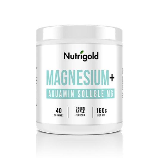 Magnezij u prahu Nutrigold u bijeloj posudici od 160 grama