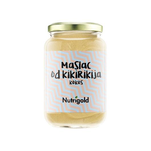 Maslac od kikirikija s kokosom Nutrigold u staklenoj ambalaži od 300 grama