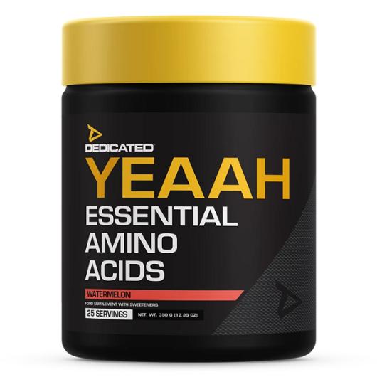 YEAAH aminokiseline u crnom pakiranju sa žutim čepom u količini od 350 grama, okusa lubenice.