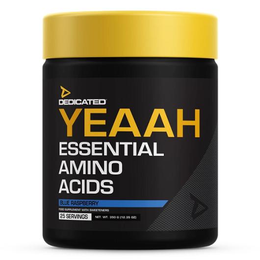 YEAAH aminokiseline u crnom pakiranju sa žutim čepom u količini od 350 grama, okusa plave maline.