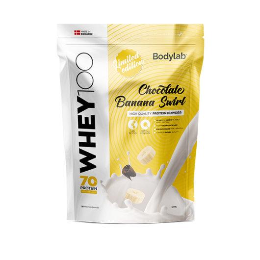 Proteini u prahu Bodylab u žutoj ambalaži okusa čokolade i banane od 1000 grama