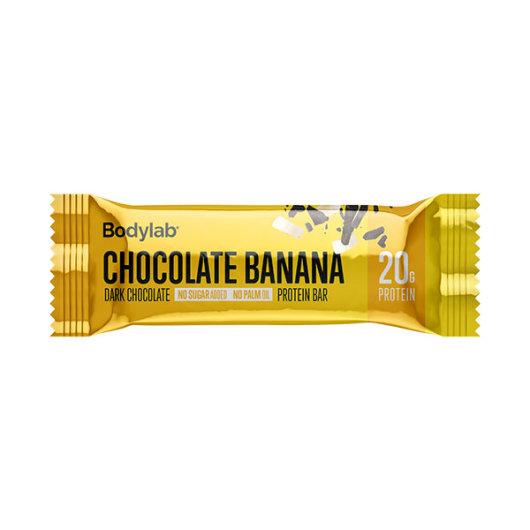 Proteinska čokoladica Bodylab u žutoj ambalaži okusa banane i čokolade od 5 grama